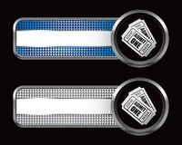 Admission tickets on checkered striped banners. Blue and silver checkered advertisements with pair of admission tickets vector illustration