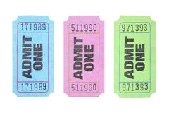 Admission Tickets. Colourful Admission Tickets on White Background stock images