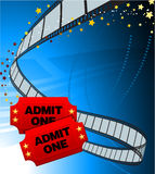Admission Tickets with Film Strip Royalty Free Stock Photography