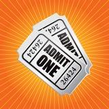 Admission tickets on orange starburst. Orange starburst with admission tickets royalty free illustration
