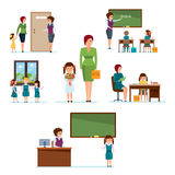 Admission to school, meeting with classmates, homework, lessons, knowledge acquisition. Modern education. School, full cycle of learning process from admission Stock Images