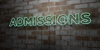 ADMISSIONS - Glowing Neon Sign on stonework wall - 3D rendered royalty free stock illustration Royalty Free Stock Photo