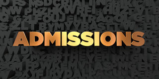 Admissions - Gold text on black background - 3D rendered royalty free stock picture Stock Photography