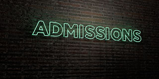 ADMISSIONS -Realistic Neon Sign on Brick Wall background - 3D rendered royalty free stock image Stock Images