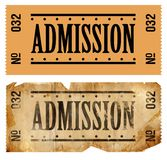Admissions Ticket. Fake Admissions Tickets. New and old/aged stock images