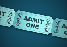 Admit one. Blue tickets on dark blue background Stock Photos