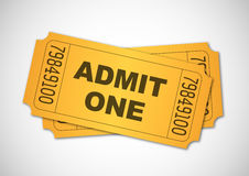 Admit one. Yellow tickets isolated Royalty Free Stock Photos