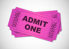 Admit one. Pink tickets isolated Stock Photography