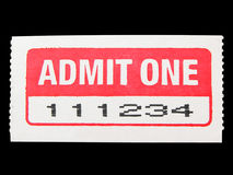 Admit One. Ticket isolated on a black background Royalty Free Stock Images