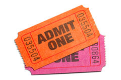 Admit One. Two Admit One Ticket isolated on pure white background royalty free stock photography