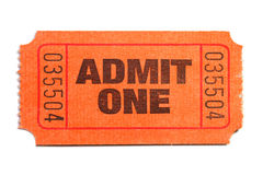 Admit One. Ticket isolated on pure white background royalty free stock images