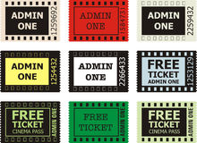 Admit One Cinema Ticket. Vector on White Background Royalty Free Stock Photos