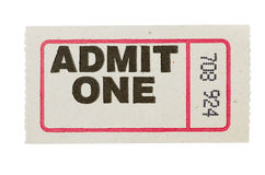 Admit one gray ticket Royalty Free Stock Photo