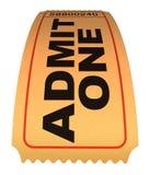 Admit one movie ticket. Isolated on white stock illustration