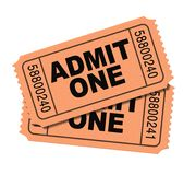 Admit one movie tickets. Isolated on white stock image