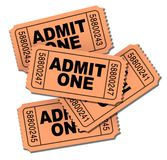 Admit one movie tickets. Isolated on white royalty free stock photos