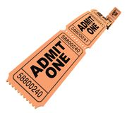 Admit one movie tickets. In perspective isolated on white Stock Photography