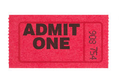 Admit one red ticket Royalty Free Stock Images
