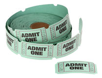 Admit One Roll of Tickets. Admit One Roll of Green Tickets Isolated on White Royalty Free Stock Images