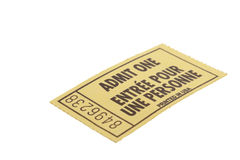 Admit One Ticket. Yellow admit one event ticket.  Shot on white background Royalty Free Stock Photography
