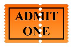 Admit one ticket. Admit one serrated ticket isolated on white background Stock Photos