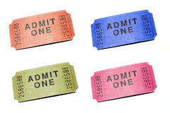 Admit One Ticket. Four Admit One Tickets isolated on pure white bacground stock photo