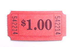 Admit one ticket. Macro closeup of a $1 ticket on white Royalty Free Stock Photo