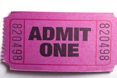 Admit one ticket. Macro closeup of an admit one ticket Royalty Free Stock Images
