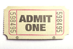 Admit one ticket. Macro closeup of an admit one ticket Stock Photography