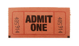 Admit one ticket. Admission ticket to an event isolated on white Royalty Free Stock Photos