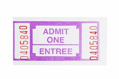 Admit one ticket. Isolated Admit one ticket on a white background stock photo