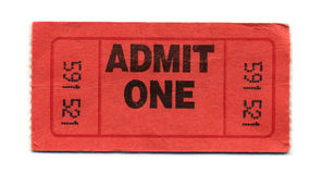 Admit-One Ticket. General-Admission-Ticket or Admit-One-Ticket Stock Photo