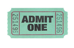 Admit One Ticket. Admit One Green Ticket Isolated on White Stock Photography