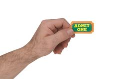 Admit one ticket in hand Stock Photos