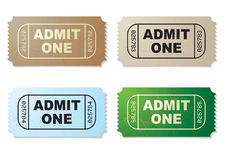 Admit one ticket set. Collection of four old fashioned paper tickets admit one Stock Photos