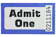 Admit one ticket stub isolated on white. Photo of an Admit One ticket stub isolated on a white background stock photos