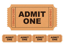 Admit one ticket. Tickets isolated on white background Royalty Free Stock Photo