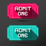 Admit One Ticket. Vector Retro Pink and Blue Tickets Set Stock Images