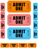 Admit one tickets 1. Group of sequentially numbered admit one tickets in orange, pink and blue Royalty Free Stock Image