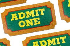 Admit one tickets Stock Photo