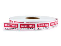 Admit One Tickets. Roll of admit one tickets isolated on white Stock Photography
