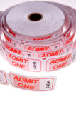 Admit one tickets. Roll of admit one tickets stock images