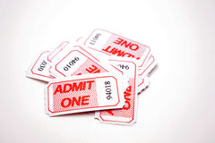 Admit one tickets. Pile of admit one tickets royalty free stock photography