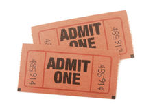 Admit one tickets. Admission tickets to an event isolated on white Stock Photo