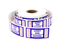Admit one tickets. Spool of blue admit one tickets over a white surface stock photography