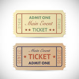 Admit One Tickets. Illustration of a vintage Admit One tickets  on a white background Stock Images