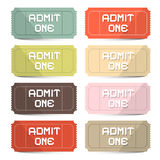 Admit One Tickets Retro Vector Set Stock Photos