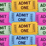 Admit One Tickets Seamless Pattern. A seamless pattern with colorful admit one cinema tickets in four different colors,  on white background. Eps file available Stock Photography