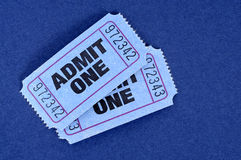 Admit one tickets, two blue Royalty Free Stock Photos