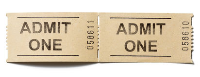 Admit one tickets  on white. Two simple cardboard admit one tickets Stock Photo
